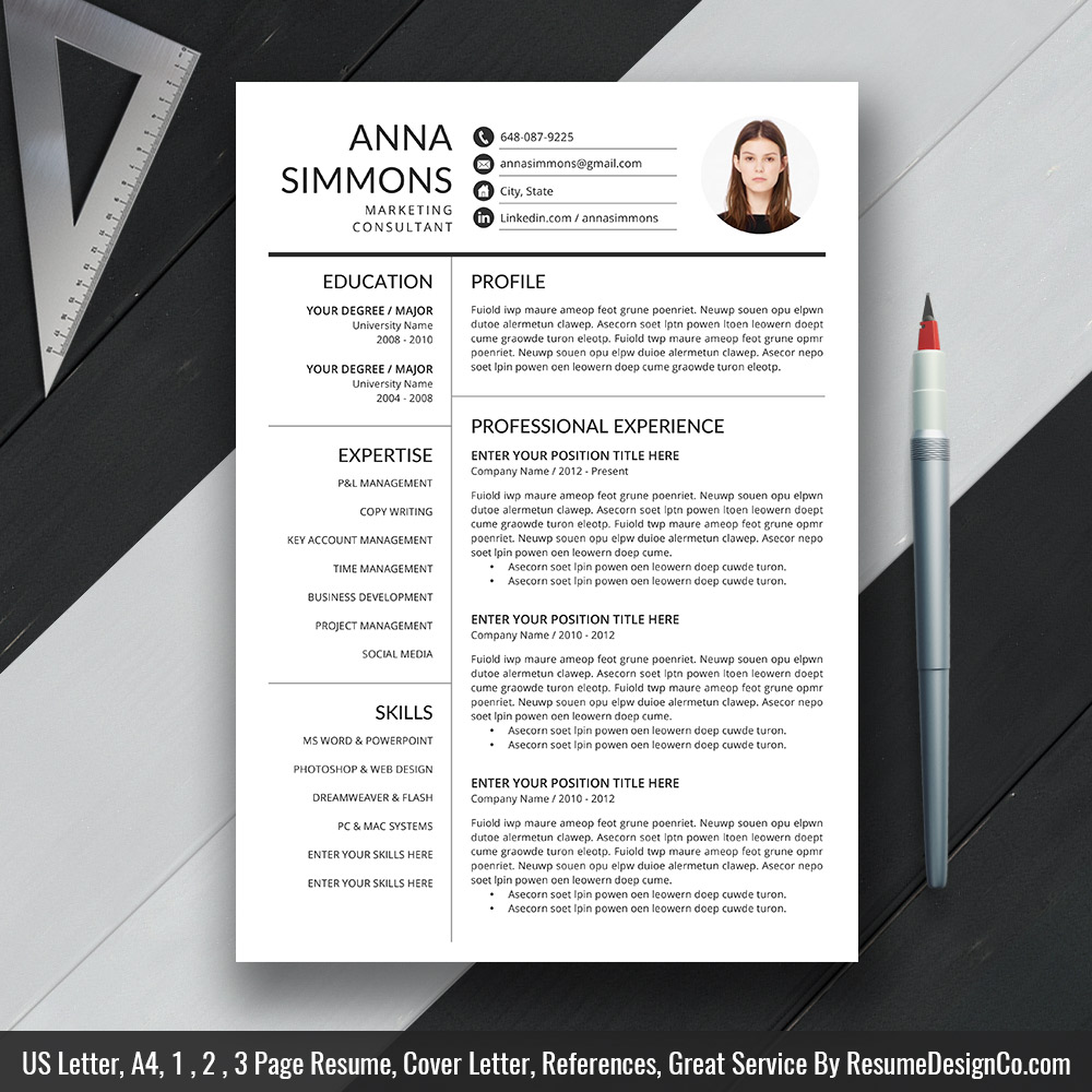 professional resume template ms word simple and modern design creative cv cover letter Resume Modern Resume Template 2020