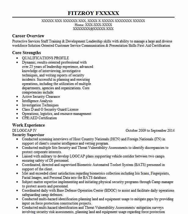 professional security supervisor resume examples safety livecareer format for ex army Resume Resume Format For Ex Army Person