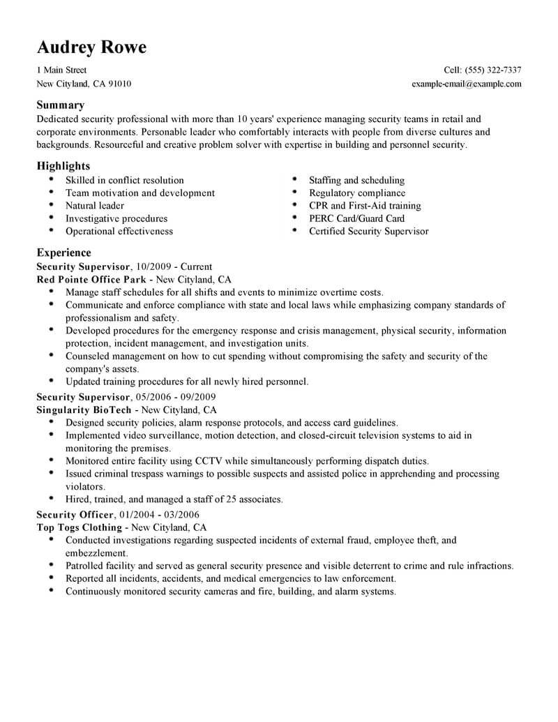 professional security supervisor resume examples safety livecareer the best summary for Resume The Best Summary For Resume