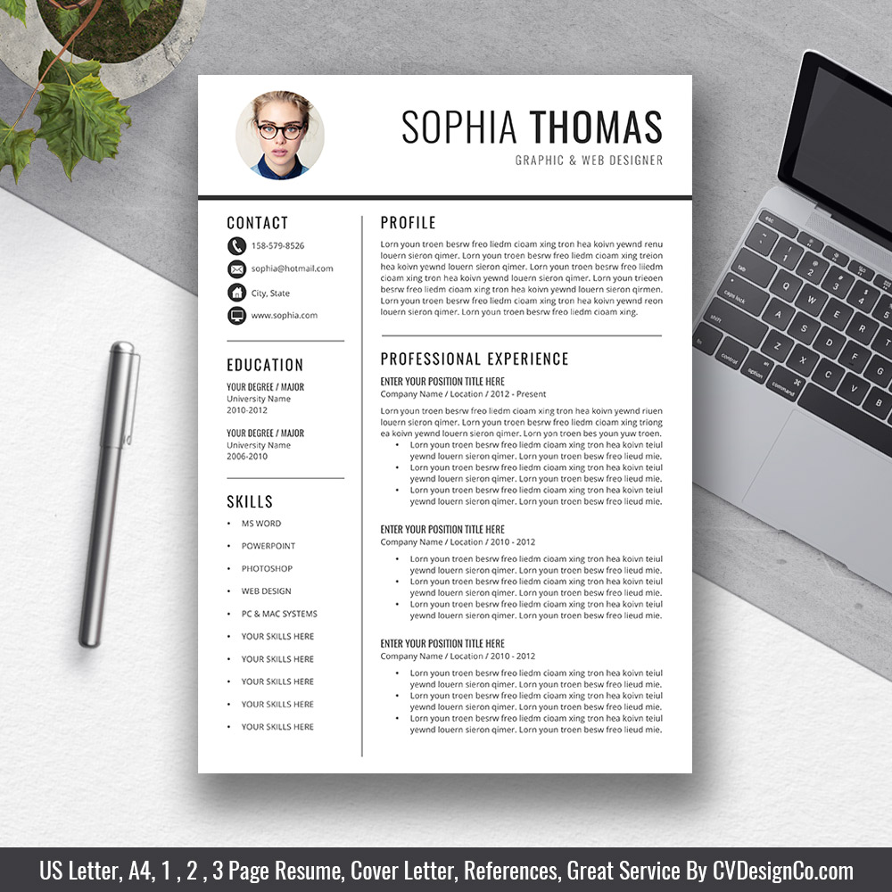 professional simple resume template best selling cv for ms word mac and pc the sophia Resume Resume Template Word Mac