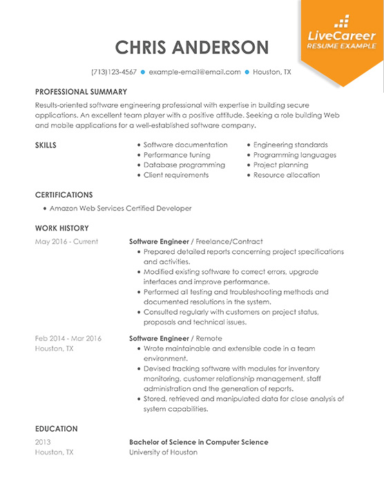 professional software engineer resume examples computer livecareer programs for example Resume Computer Programs For Resume