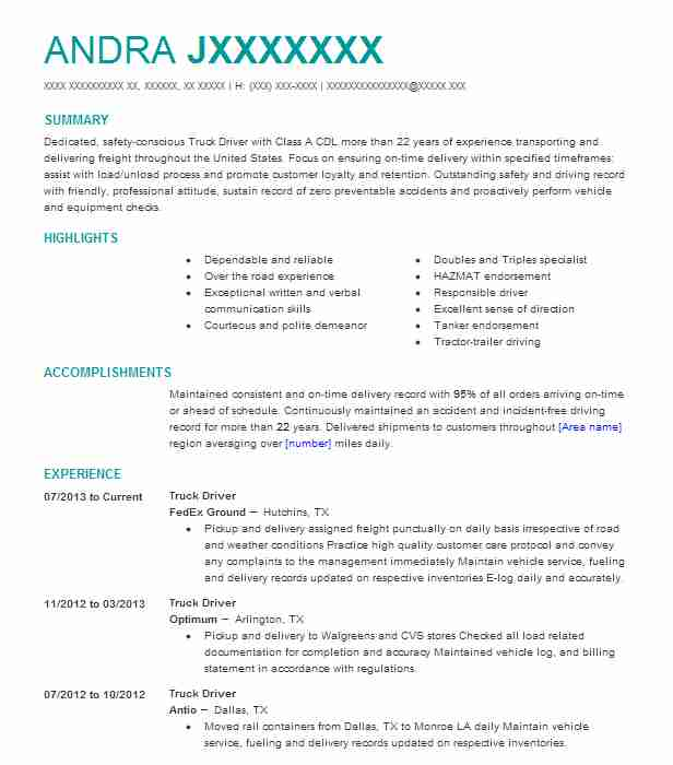 professional truck driver resume examples driving livecareer free template responsibility Resume Free Truck Driver Resume Template