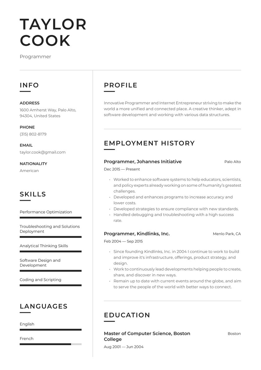 programmer resume examples writing tips free guide io listing self employment on for Resume Listing Self Employment On Resume