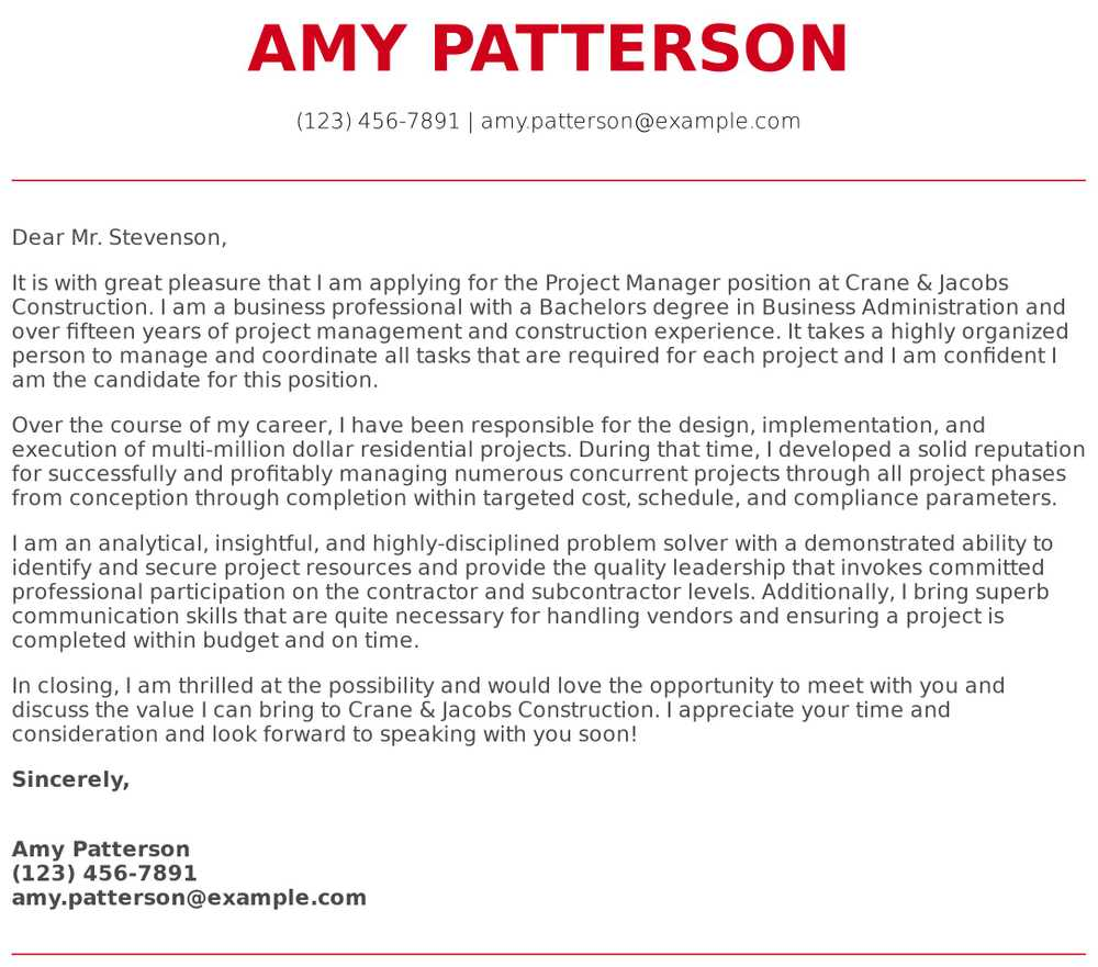 project manager cover letter examples samples templates resume sample for construction Resume Sample Cover Letter For Resume Construction