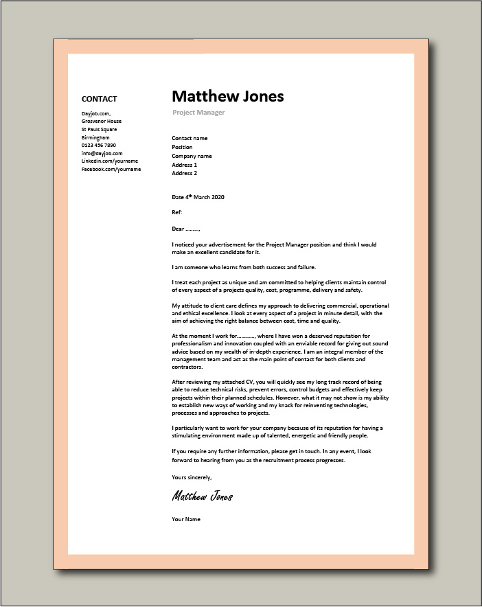 project manager cover letter sample vacancy application management cv for resume job free Resume Sample Cover Letter For Resume Job Application