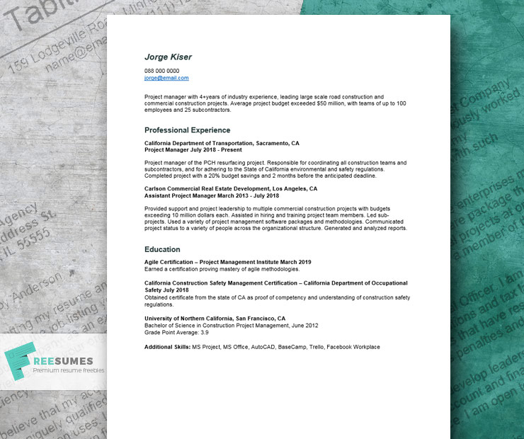 project manager resume example that help you craft your best job application freesumes Resume Assistant Project Manager Construction Resume