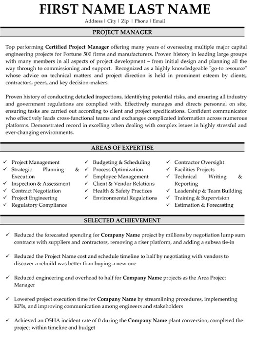 project manager resume sample template incident mg building exercises professional eye Resume Incident Manager Resume