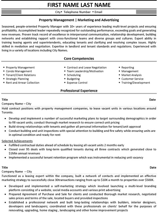 property management resume sample template manager marketing and advertising summary Resume Property Manager Resume