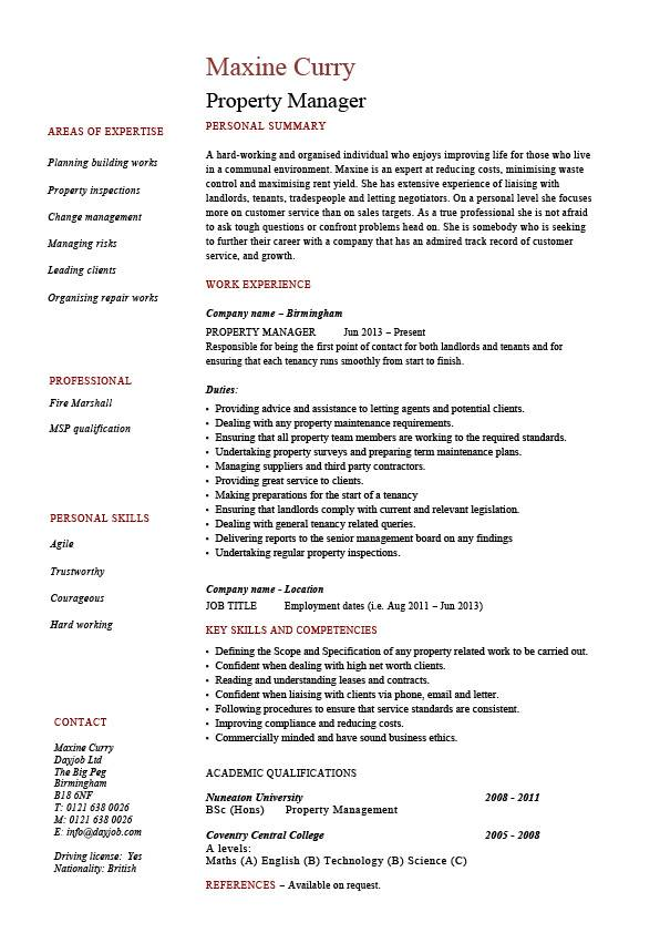property manager resume example sample template job description facilities duties rent cv Resume Property Manager Resume