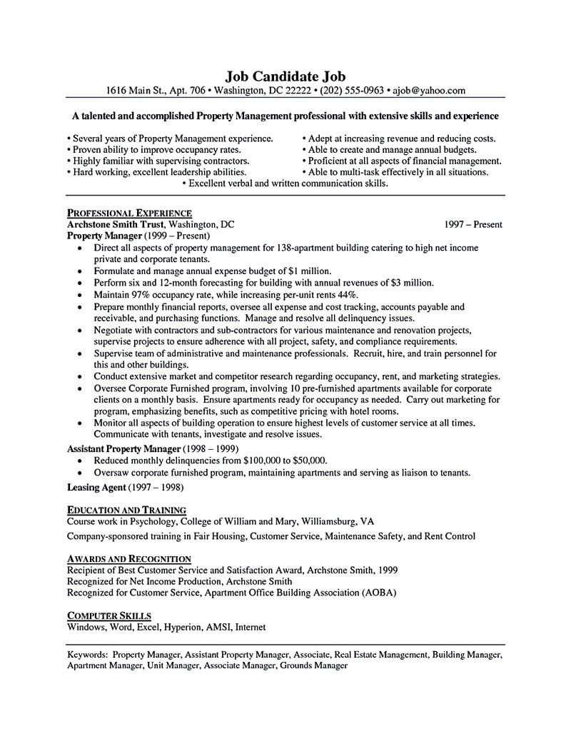 property manager resume should rightly written to describe your skills as cover letter Resume Property Manager Resume