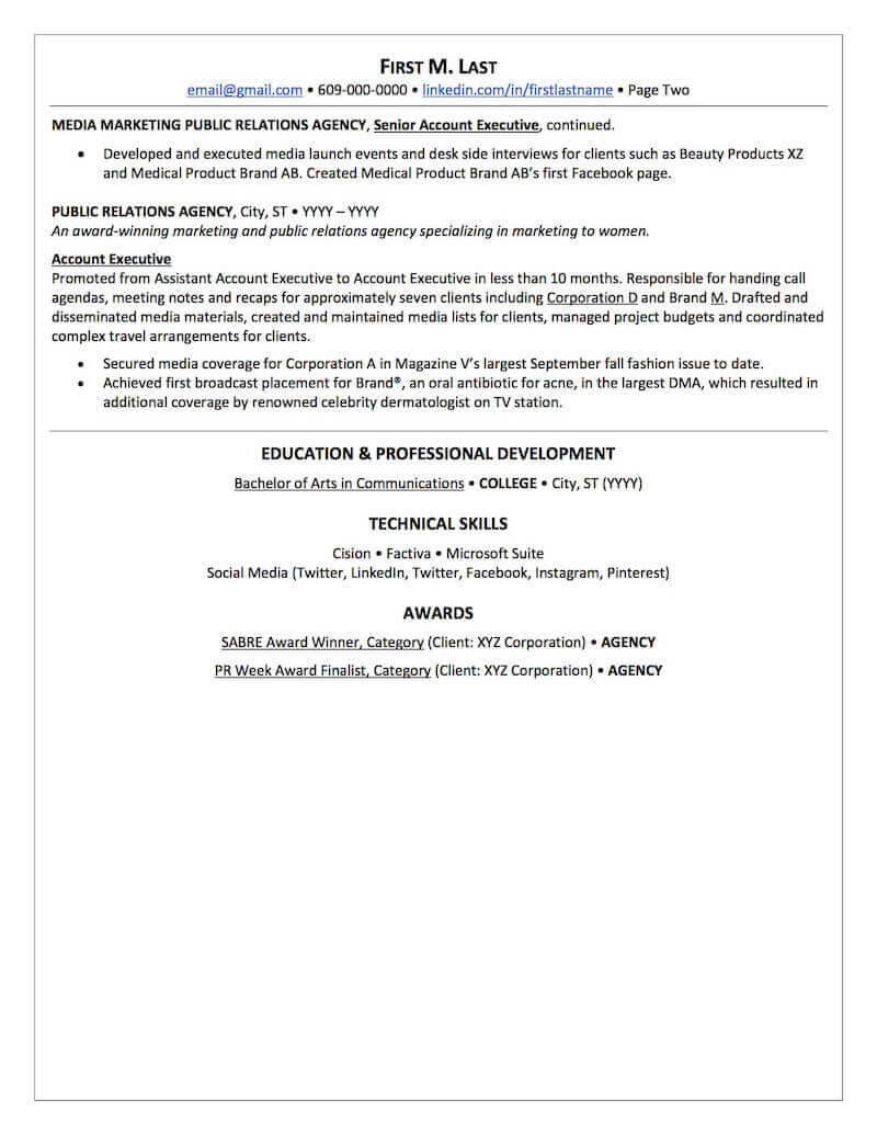 public relations resume sample professional examples topresume capabilities page2 Resume Resume Capabilities Sample