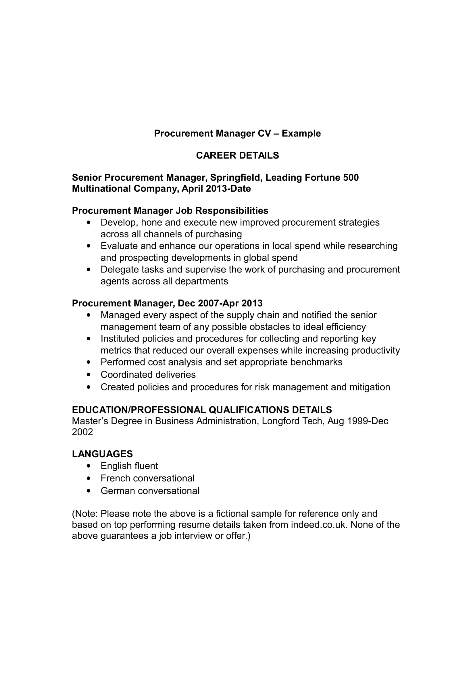 purchase cv template and fees resume format for procurement manager example digital Resume Resume Format For Procurement Manager