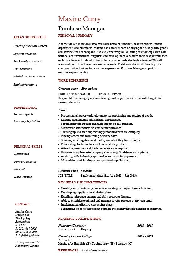 purchase manager resume job description samples examples templates management format for Resume Resume Format For Procurement Manager