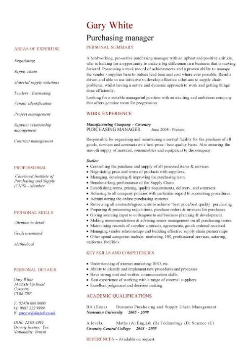 purchasing manager cv sample resume format for procurement pic template senior workday Resume Resume Format For Procurement Manager