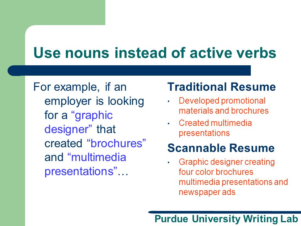purdue university writing lab scannable resumes presentation brought to you by the Resume Creating A Scannable Resume