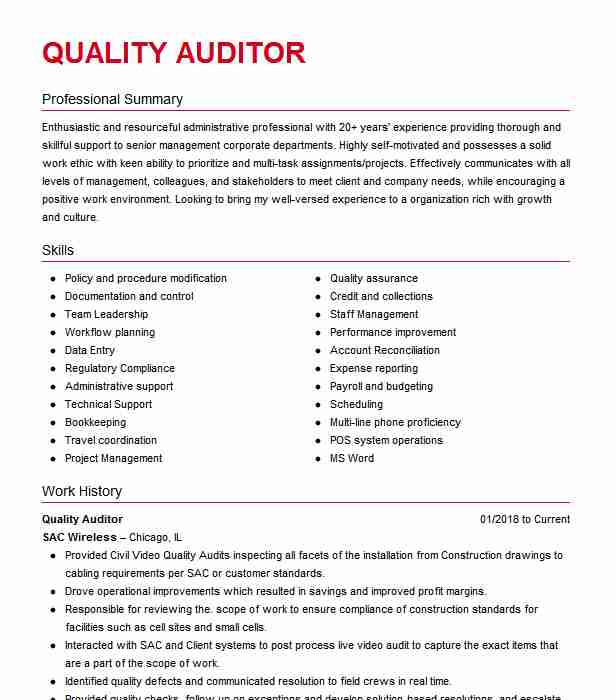 quality auditor resume example resumes livecareer control training manager marketing Resume Quality Control Auditor Resume