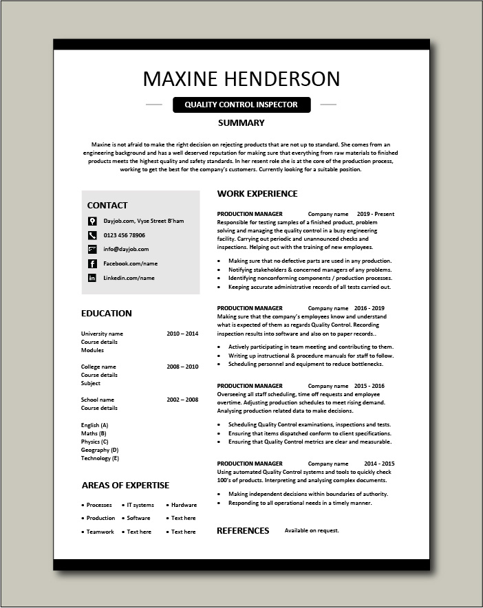 quality control inspector resume dayjob examples free template advertising creative Resume Quality Inspector Resume Examples