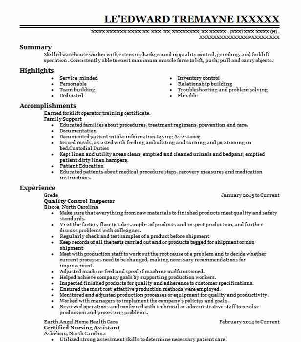 quality control inspector resume example livecareer automotive chief operating officer Resume Automotive Quality Control Resume