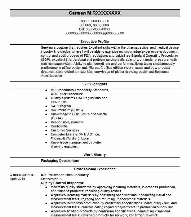quality control inspector resume example livecareer examples oracle soa developer Resume Quality Inspector Resume Examples