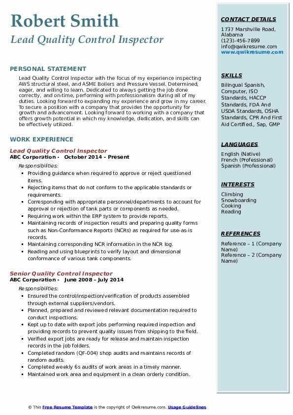 quality control inspector resume samples qwikresume examples pdf first aid certified on Resume Quality Inspector Resume Examples