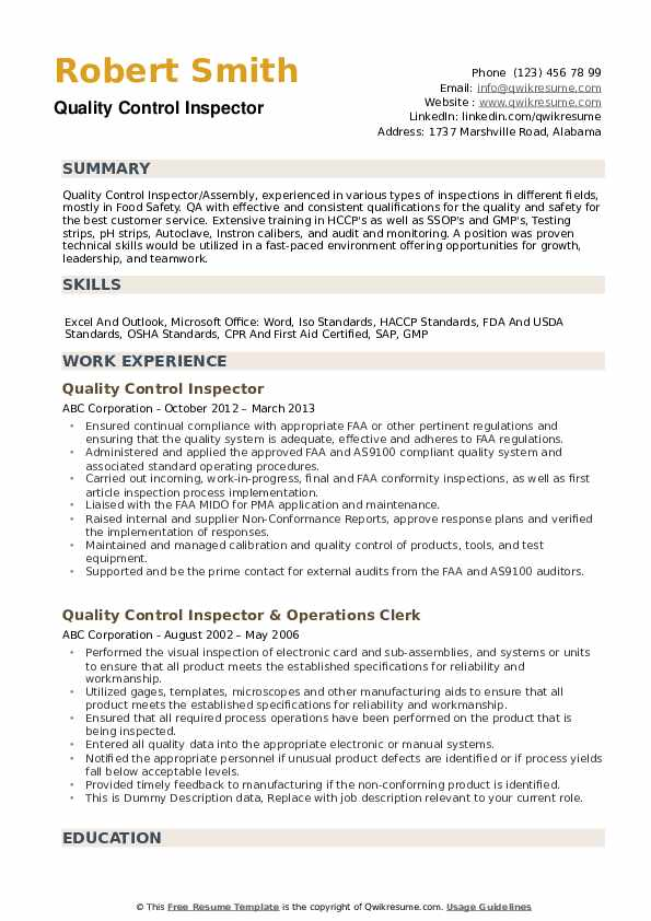 quality control inspector resume samples qwikresume objective examples pdf jeff bezos Resume Inspector Resume Objective Examples