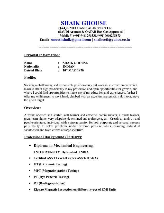 quality control qc resume sample inspector examples format for freshers commerce post Resume Quality Inspector Resume Examples