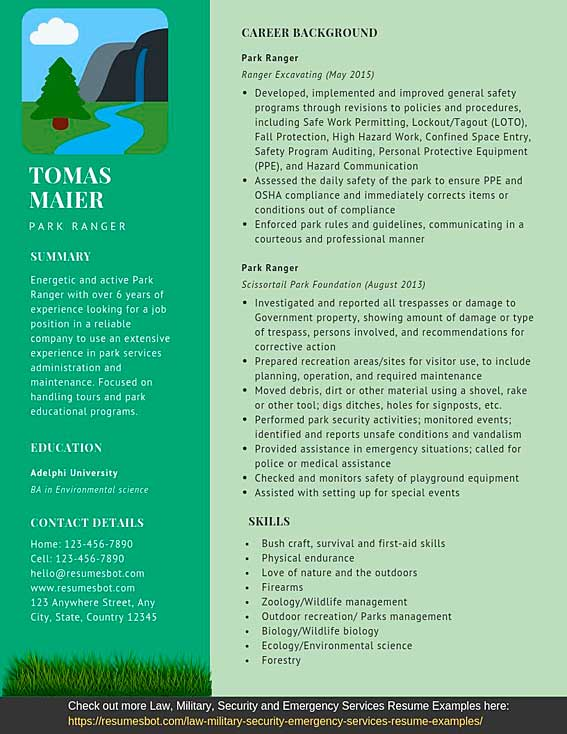 ranger resume samples and tips pdf templates resumes bot objective examples example Resume Park Ranger Resume Objective Examples