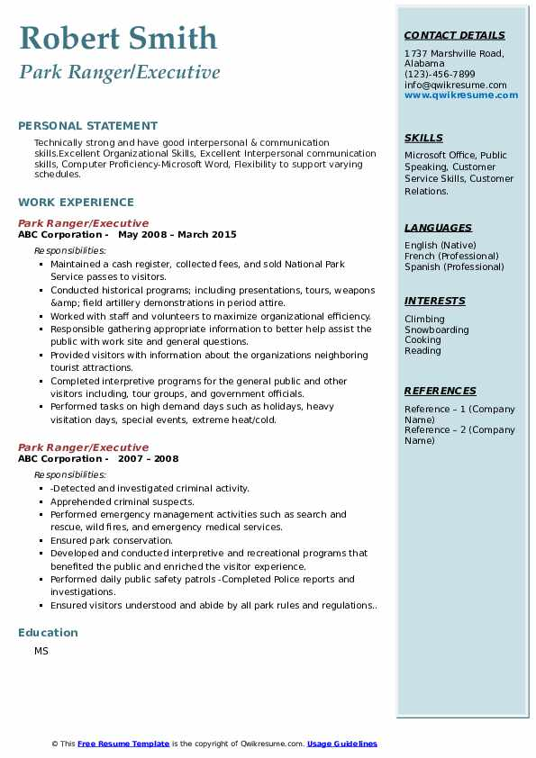 ranger resume samples qwikresume objective examples pdf talent management specialist Resume Park Ranger Resume Objective Examples