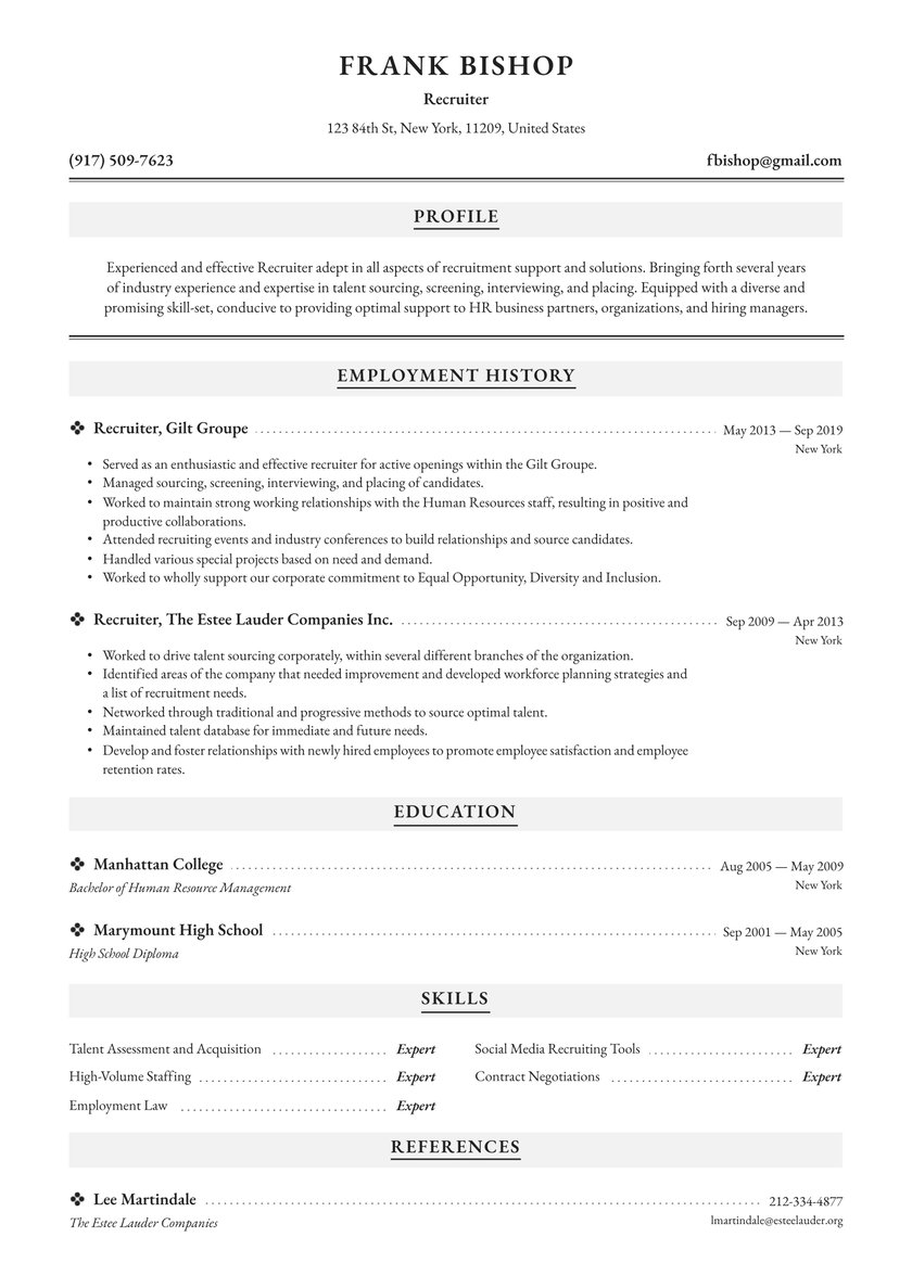 recruiter resume examples writing tips free guide io human services summary vfx producer Resume Recruiter Resume Examples
