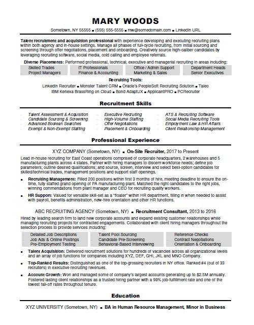 recruiter resume sample monster examples self summary for nursing achievements librarian Resume Recruiter Resume Examples