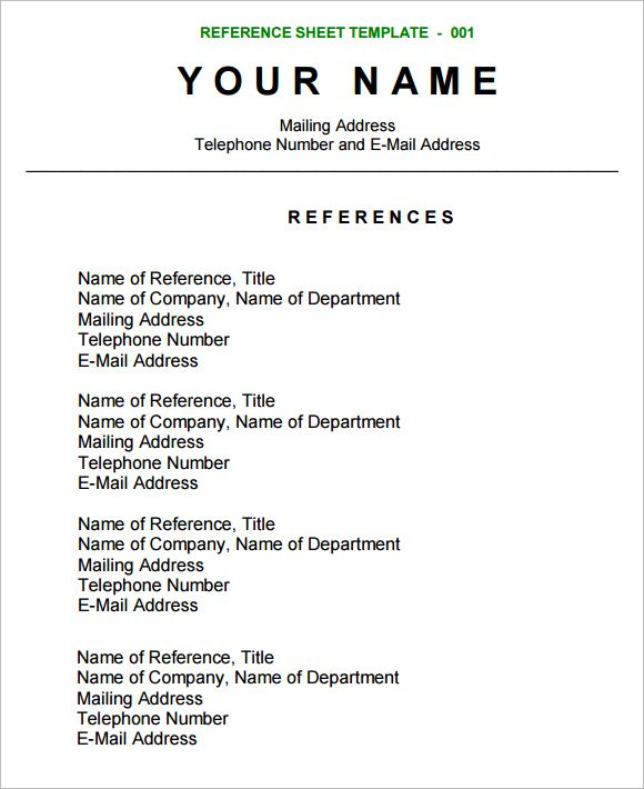 reference sheet template free samples examples format for resume references example ghc Resume Resume Reference Page Example