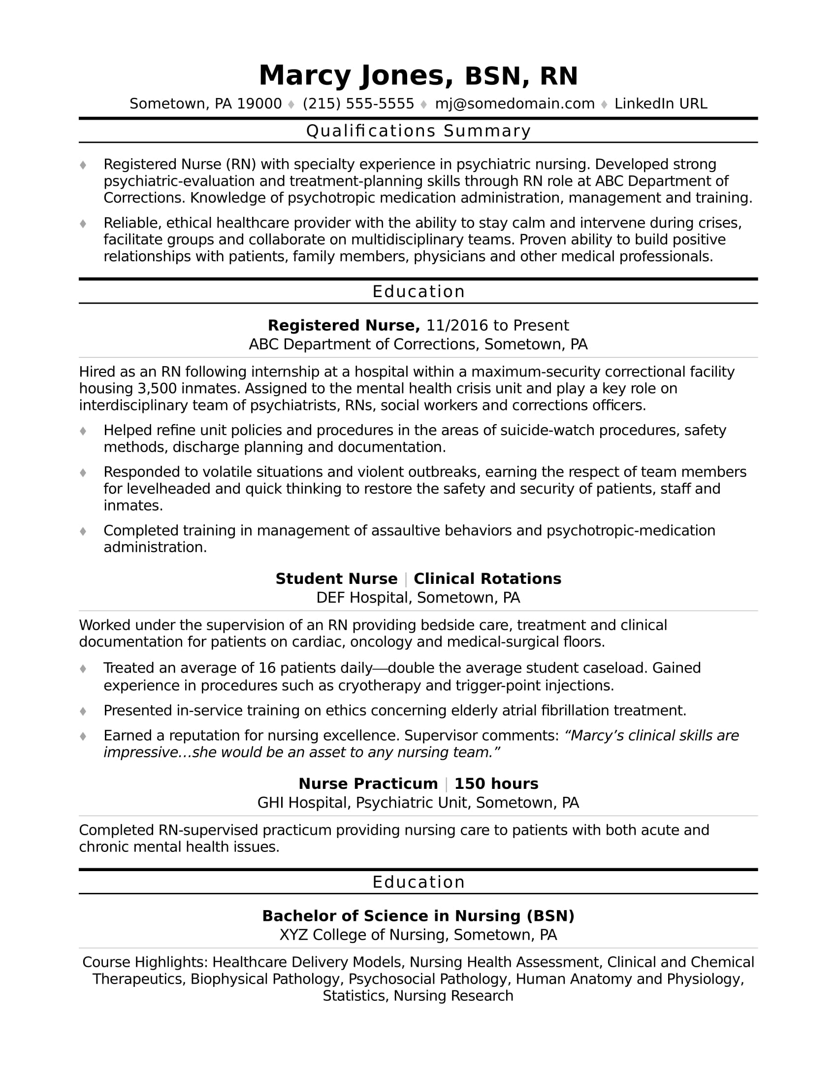 registered nurse rn resume sample monster new examples entry level computer science latex Resume New Nurse Resume Examples