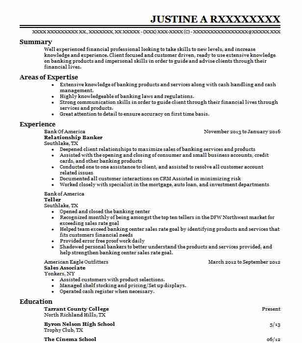 relationship banker resume example resumes livecareer pet guidewire testing delivery Resume Relationship Banker Resume