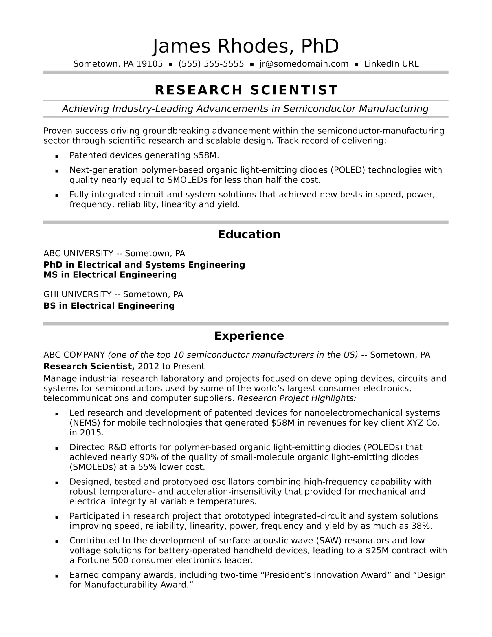 research scientist resume sample monster for position midlevel overleaf template software Resume Resume For Research Position