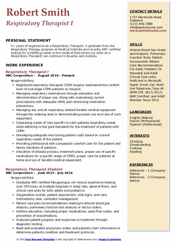 respiratory therapist resume samples qwikresume registered pdf skills synonym for company Resume Registered Respiratory Therapist Resume