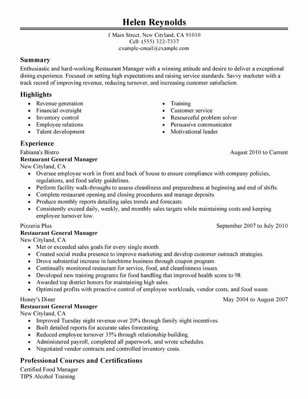 restaurant general manager resumes awesome resume examples created by pros good job Resume Restaurant Manager Job Description Resume