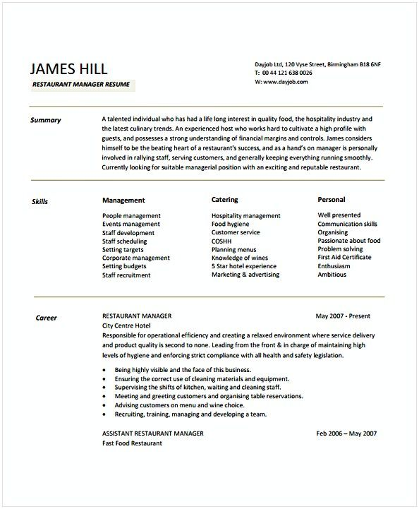 restaurant manager resume sample hotel and management being in hospitality both chal Resume Restaurant Hospitality Resume Examples