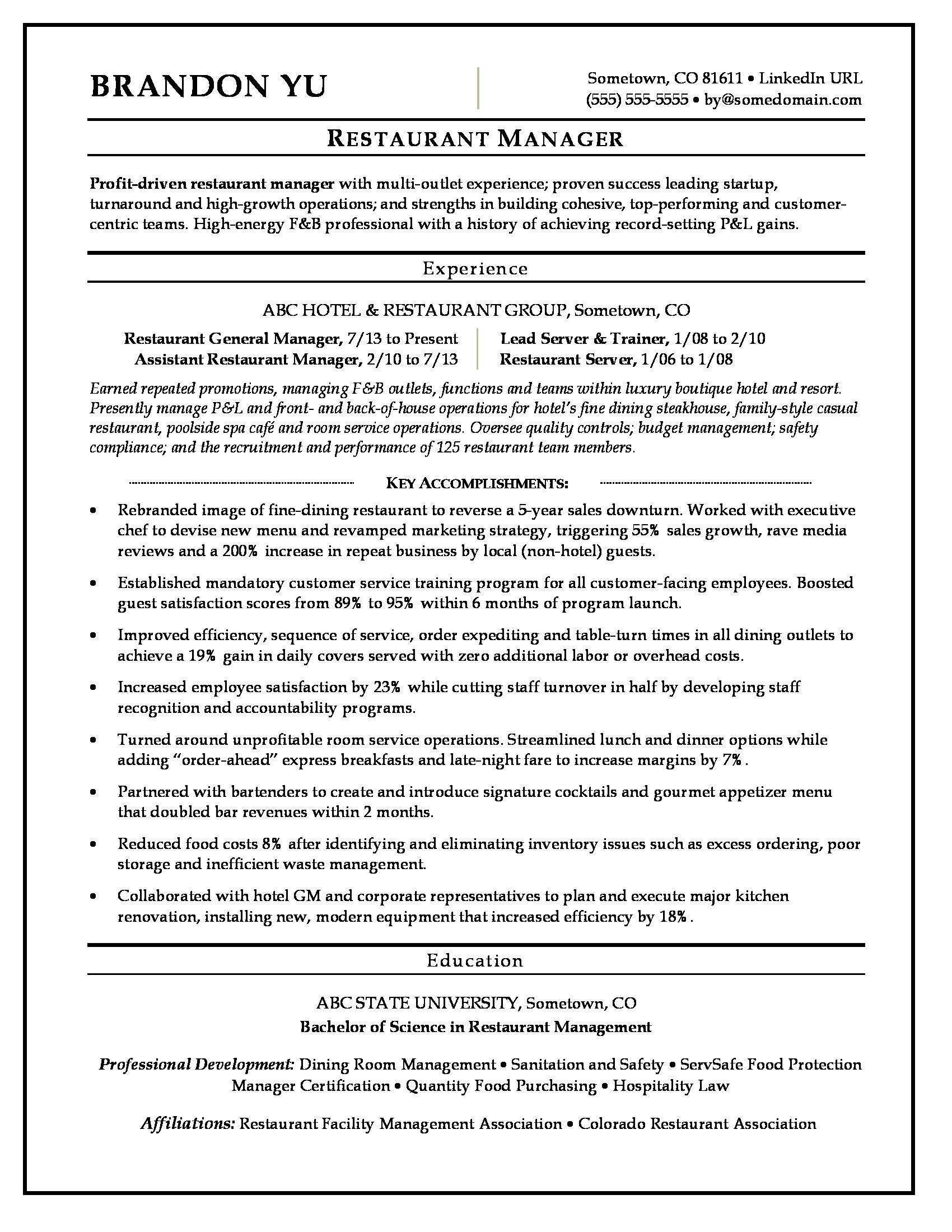 restaurant manager resume sample monster general examples indeed recent college graduate Resume General Manager Resume Examples