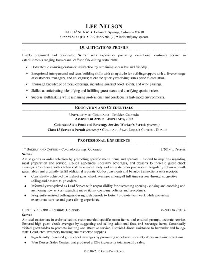 restaurant server resume sample monster duties and responsibilities for special training Resume Server Duties And Responsibilities For Resume