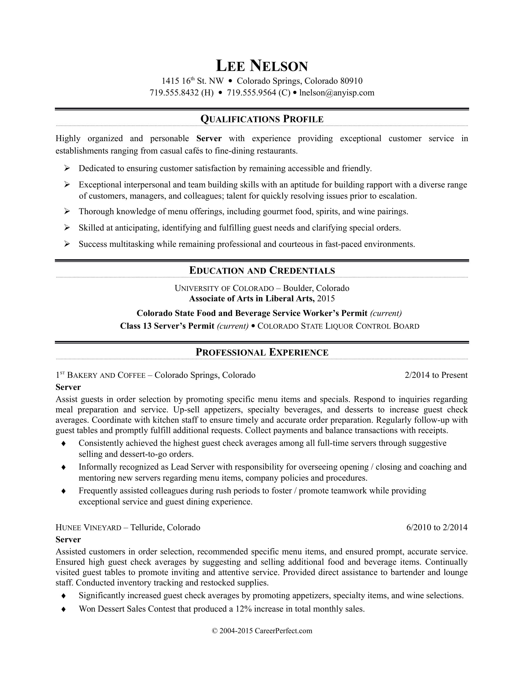 restaurant server resume sample monster responsibilities fundraiser functional template Resume Sample Server Resume Responsibilities