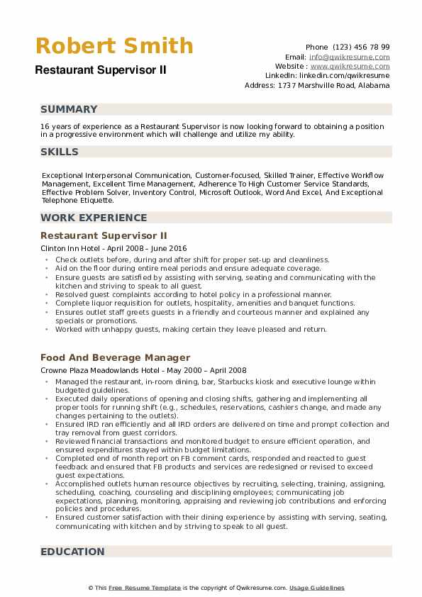 restaurant supervisor resume samples qwikresume work experience pdf generic job pta Resume Work Experience Restaurant Resume