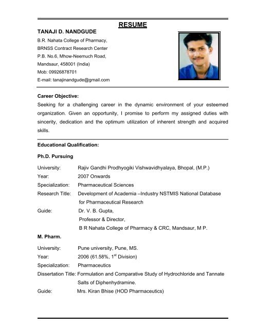 resume academia industry interaction project for pharmaceutical research and development Resume Resume For Pharmaceutical Research And Development