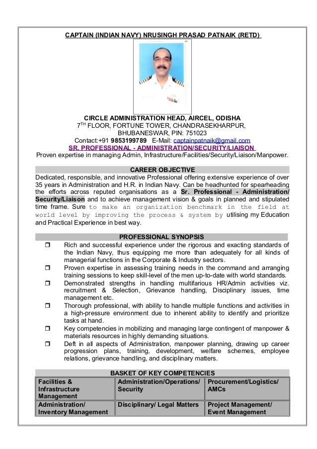 resume captain np patnaik indian navy format for ex army information technology examples Resume Resume Format For Ex Army Person