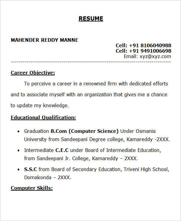 resume career objective for freshers excellent sample fresher doc1 automation tester Resume Excellent Career Objective For Resume
