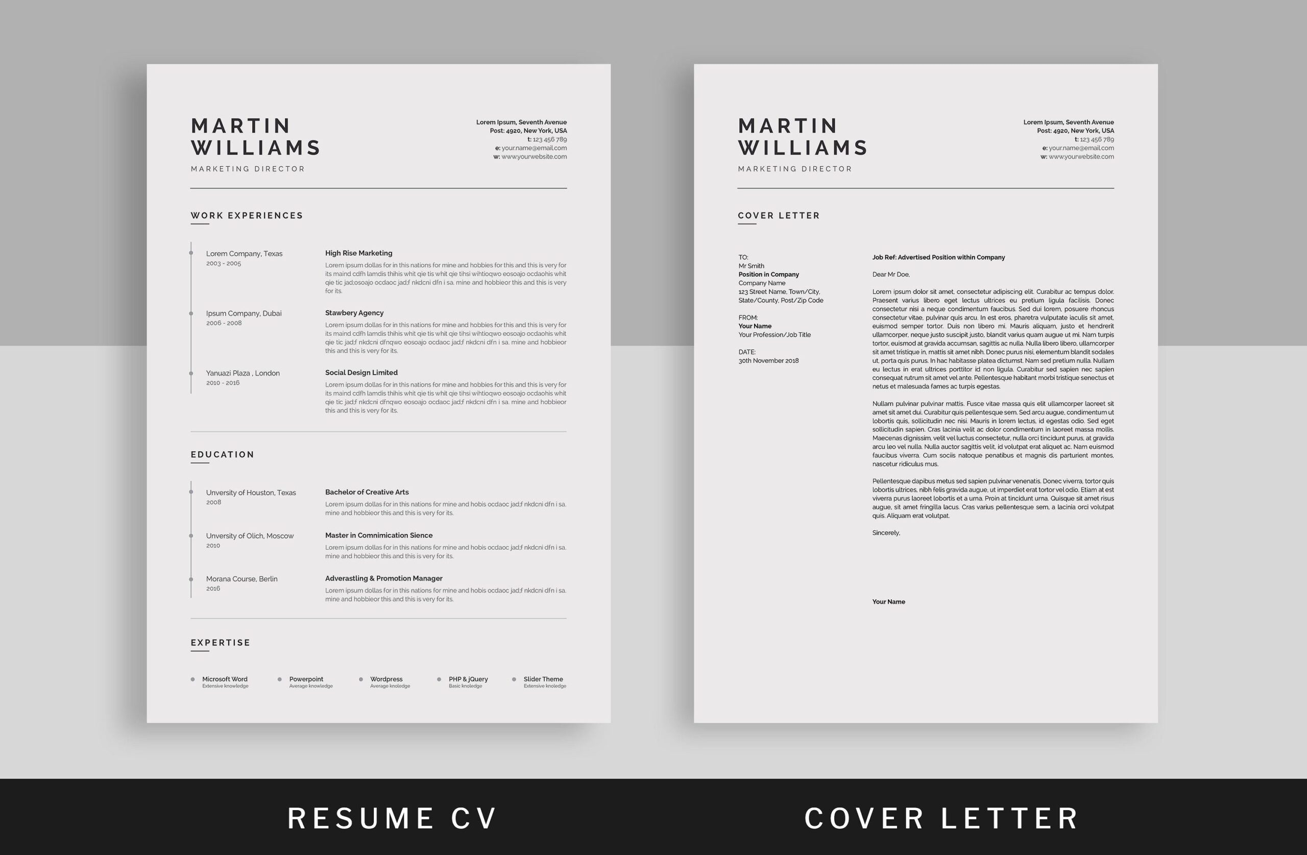 resume cv design template minimalist indesign free dynamic templates product manager Resume Free Dynamic Resume Templates