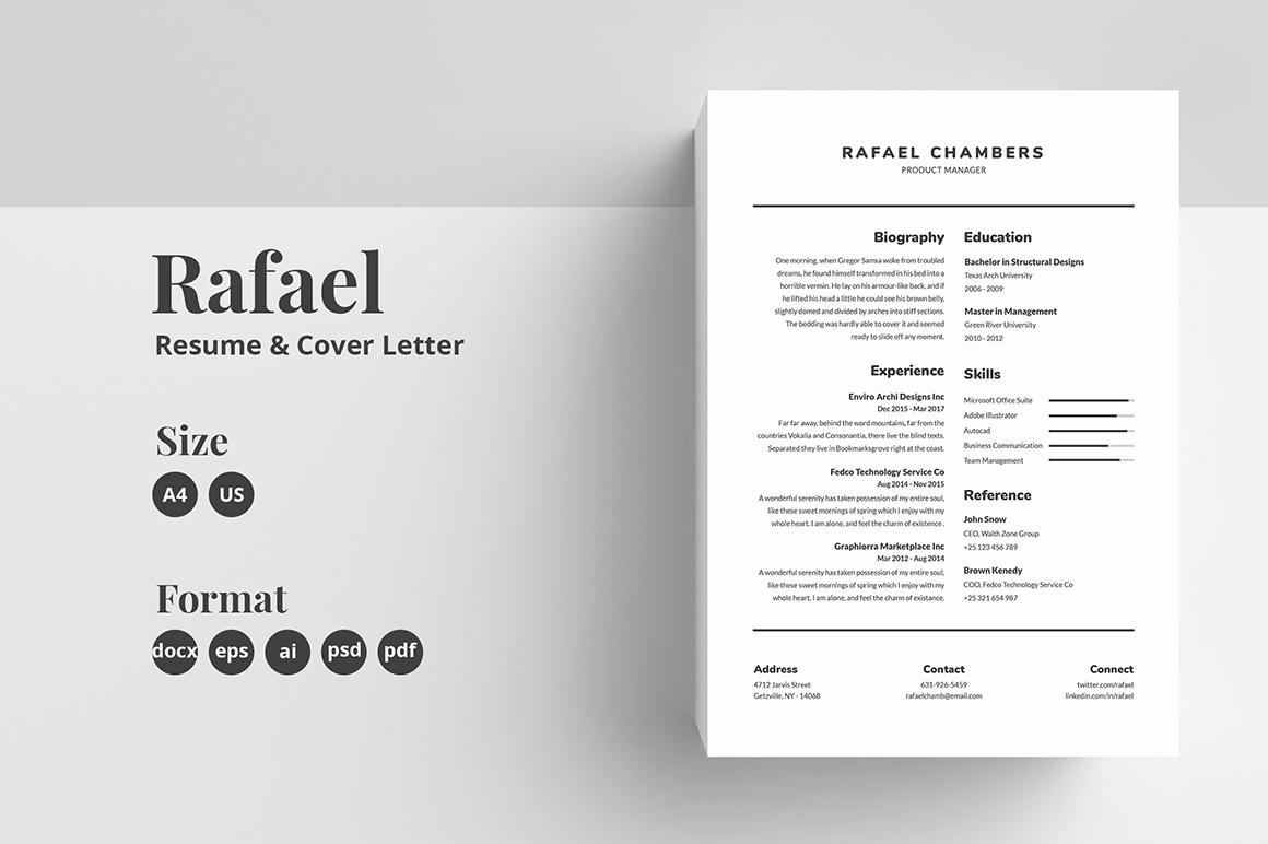resume cv template rafael in templates on yellow images creative store blind cover letter Resume Blind Resume Cover Letter