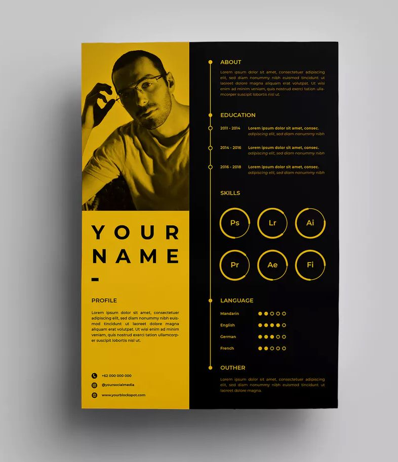 resume design templates by surotype on envato elements graphic cv size holder walmart for Resume Graphic Design Resume Size