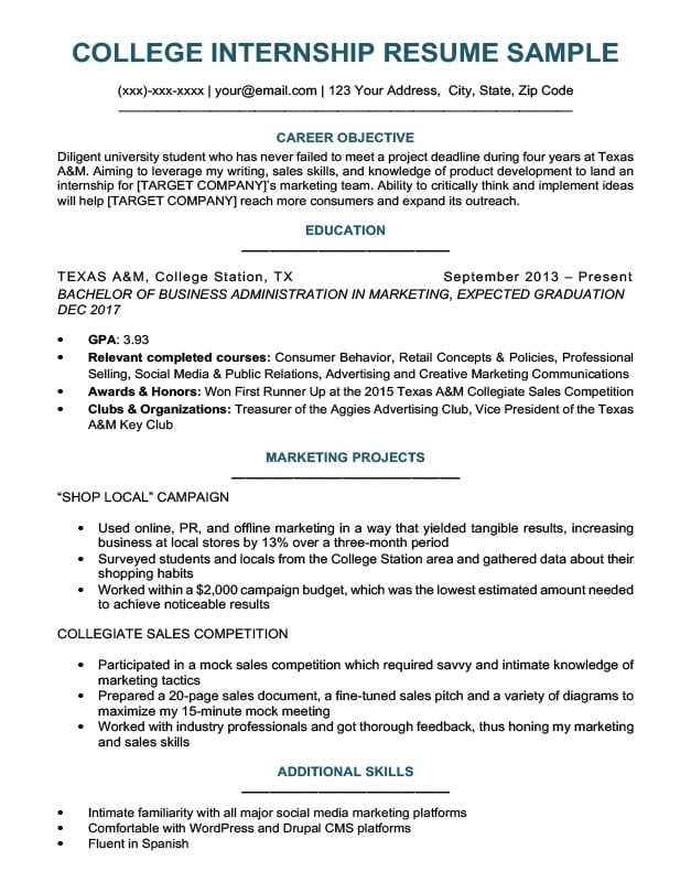 resume education section to on your job examples college student for internship sample Resume Job Resume Education Examples