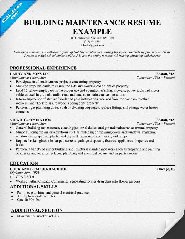 resume example for building maintenance resumesdesign accountant engineering examples Resume Maintenance Resume Templates Word