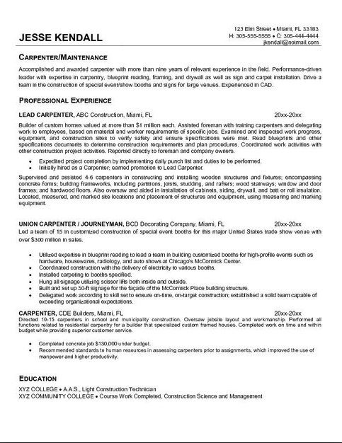 resume example in objective sample carpenter senior medical assistant piping engineer oil Resume Carpenter Objective Resume